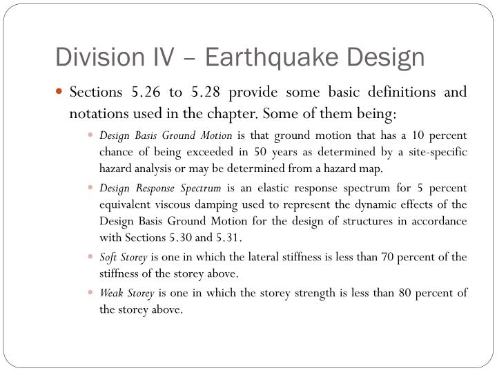 Division IV – Earthquake Design