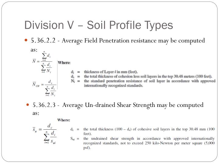 Division V – Soil Profile Types