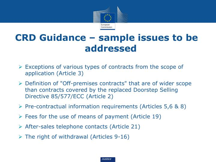 CRD Guidance – sample issues to be addressed