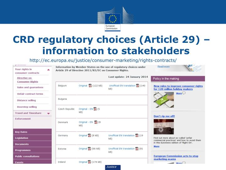 CRD regulatory choices (Article 29) – information to stakeholders