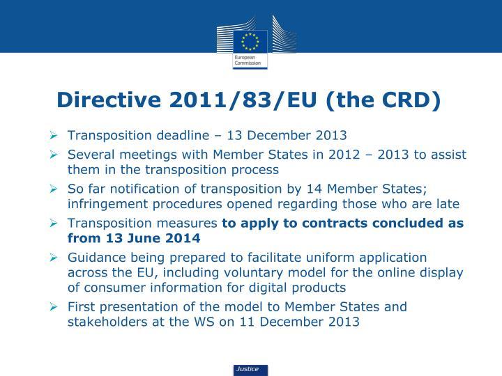 Directive 2011/83/EU (the CRD)
