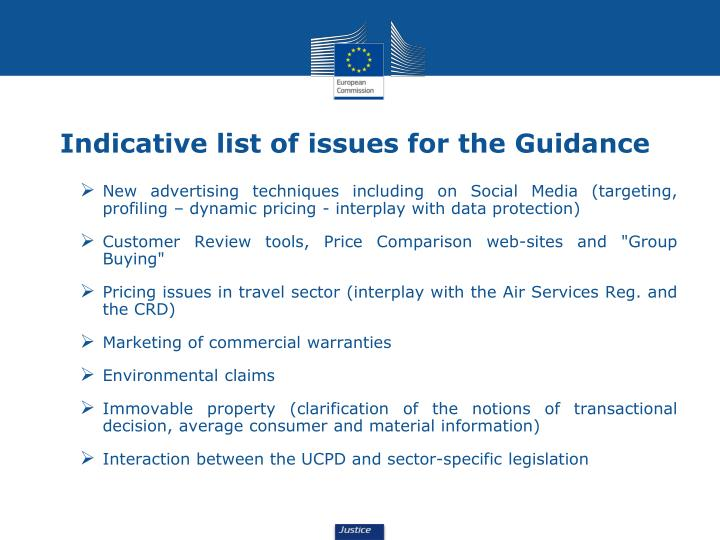 Indicative list of issues for the Guidance