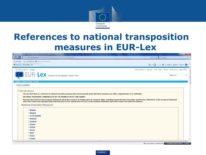 References to national transposition measures in EUR-Lex