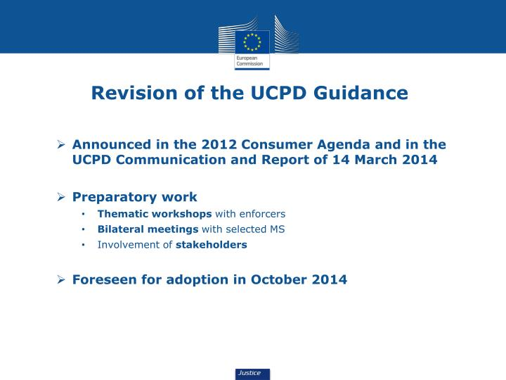 Revision of the UCPD Guidance