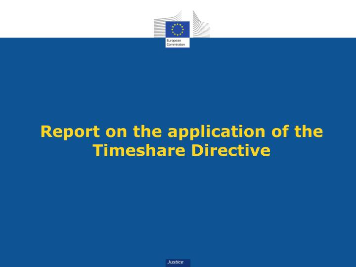 Report on the application of the Timeshare Directive