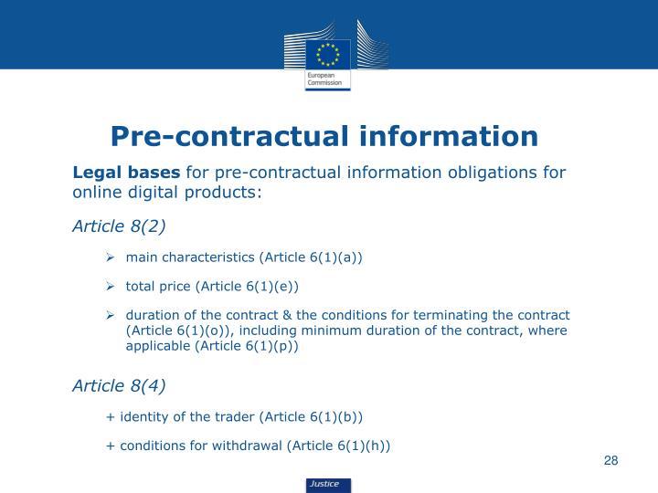 Pre-contractual information
