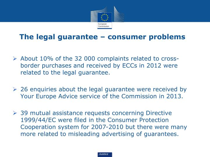 The legal guarantee – consumer problems