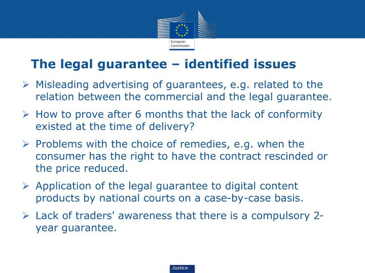 The legal guarantee – identified issues