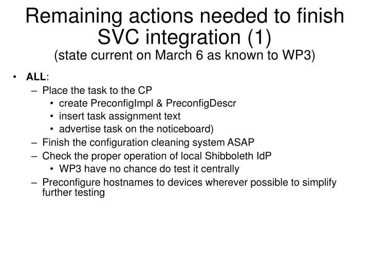 Remaining actions needed to finish svc integration 1 state current on march 6 as known to wp3