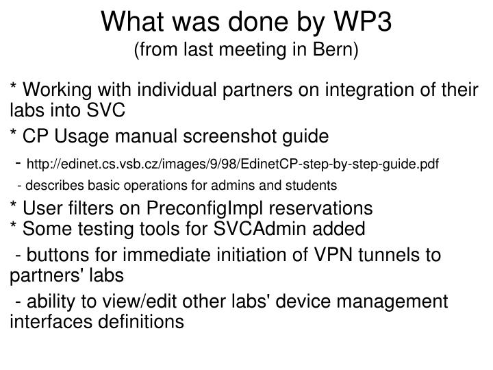 What was done by WP3