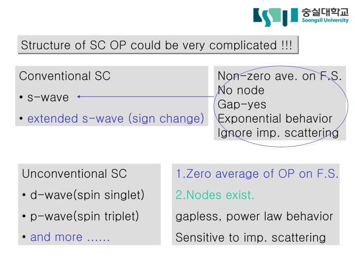 Structure of SC OP could be very complicated !!!