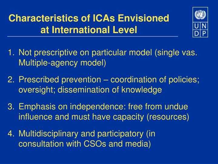 Characteristics of ICAs Envisioned at International Level