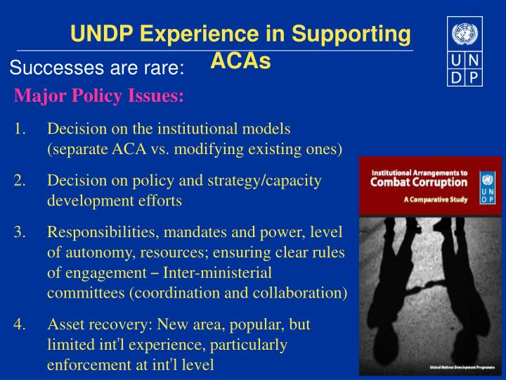 UNDP Experience in Supporting ACAs