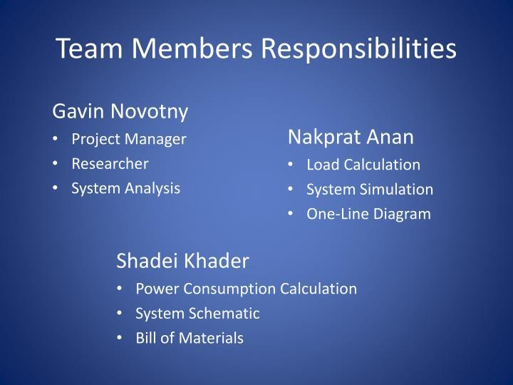 Team Members Responsibilities