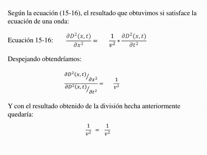 Según la ecuación (15-16), el resultado que obtuvimos si satisface la ecuación de una onda: