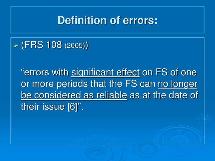 Definition of errors