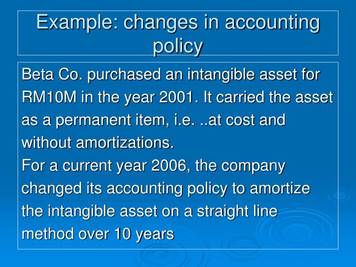 Example: changes in accounting policy