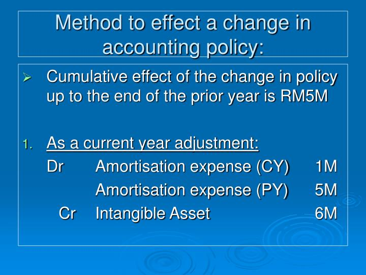 Method to effect a change in accounting policy:
