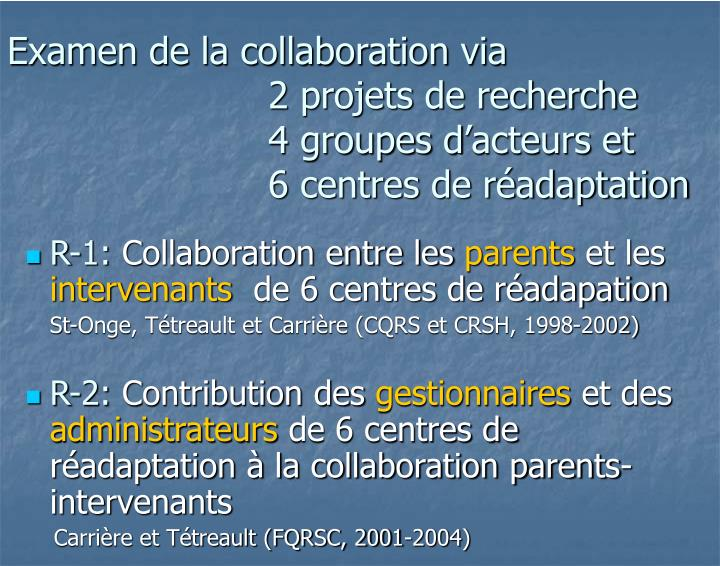 Examen de la collaboration via
