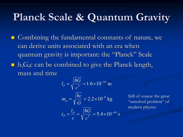 Planck Scale & Quantum Gravity