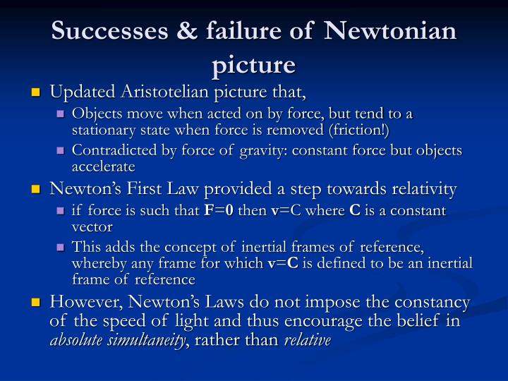 Successes & failure of Newtonian picture