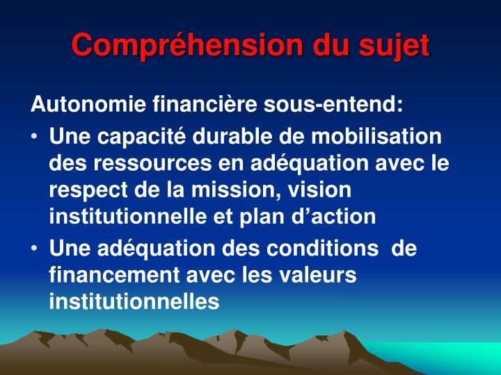 Compr hension du sujet