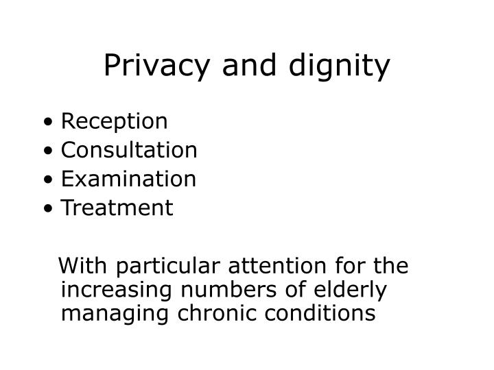 reflection on patient privacy and dignity Safety and quality staff information on respecting patients' privacy and dignity with patient centred care principles.
