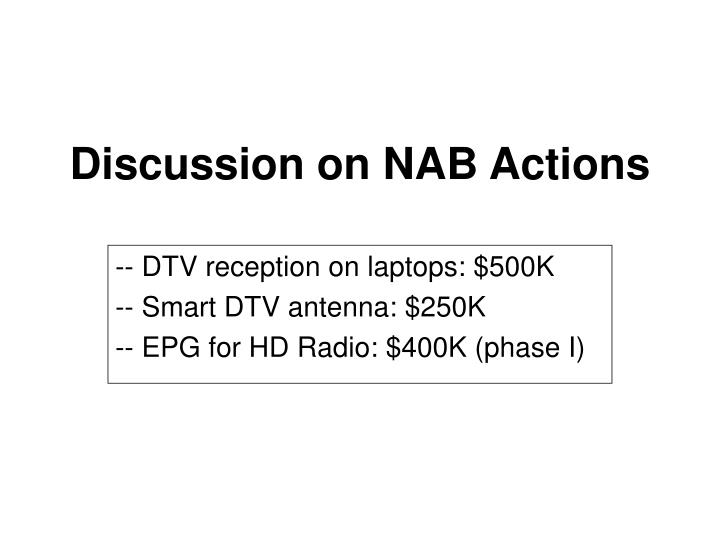 Discussion on NAB Actions