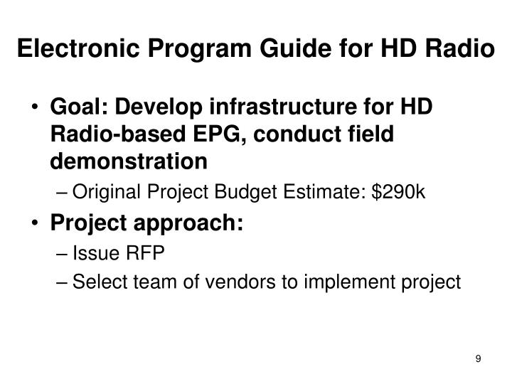 Electronic Program Guide for HD Radio