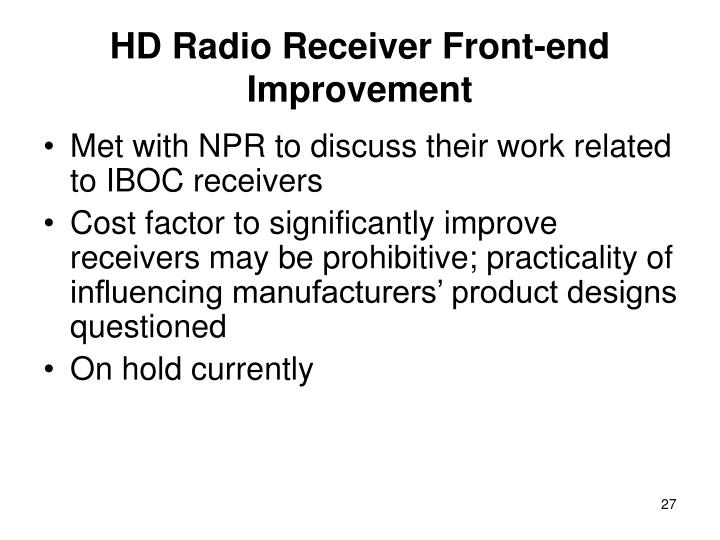HD Radio Receiver Front-end Improvement