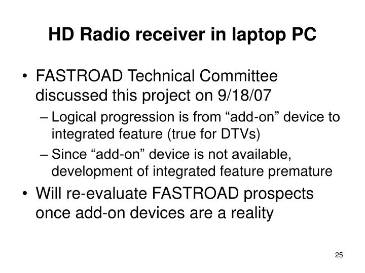 HD Radio receiver in laptop PC