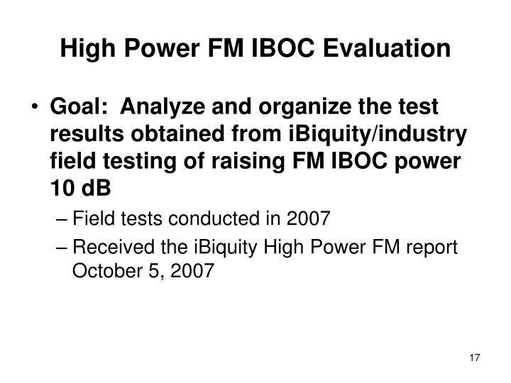 High Power FM IBOC Evaluation