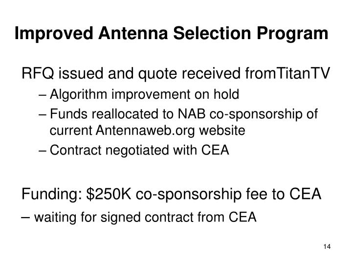 Improved Antenna Selection Program