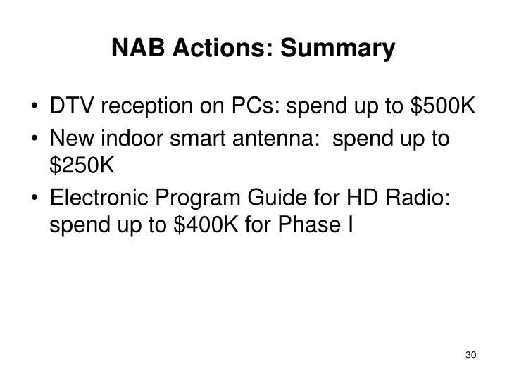 NAB Actions: Summary