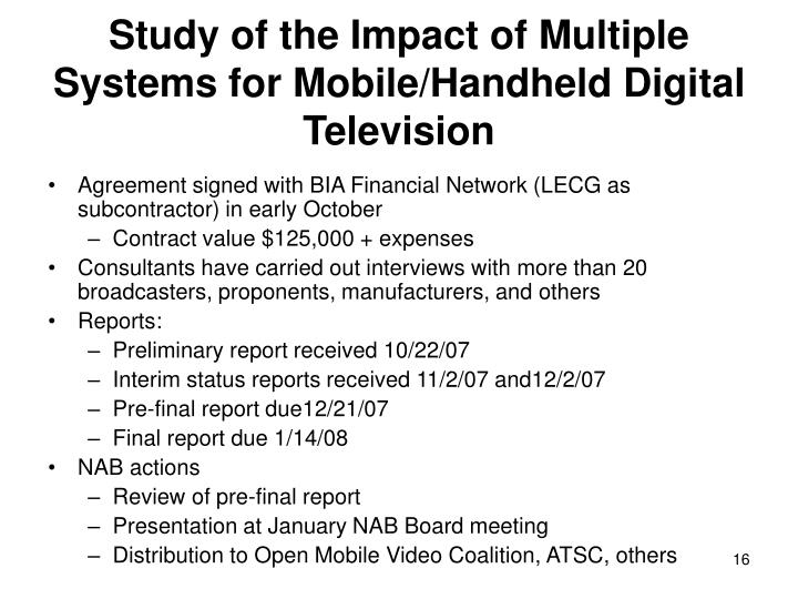 Study of the Impact of Multiple Systems for Mobile/Handheld Digital Television