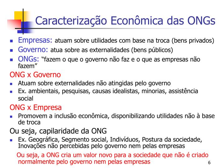 Caracterização Econômica das ONGs