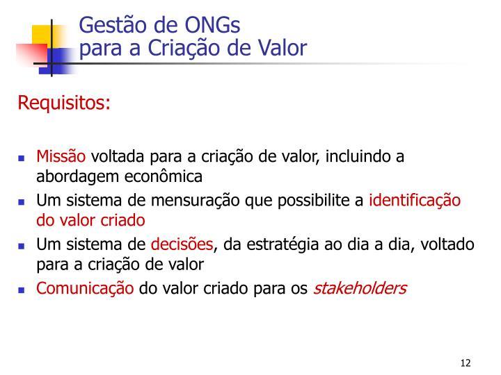 Gestão de ONGs
