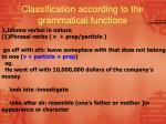classification according to the grammatical functions4