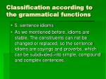 classification according to the grammatical functions8