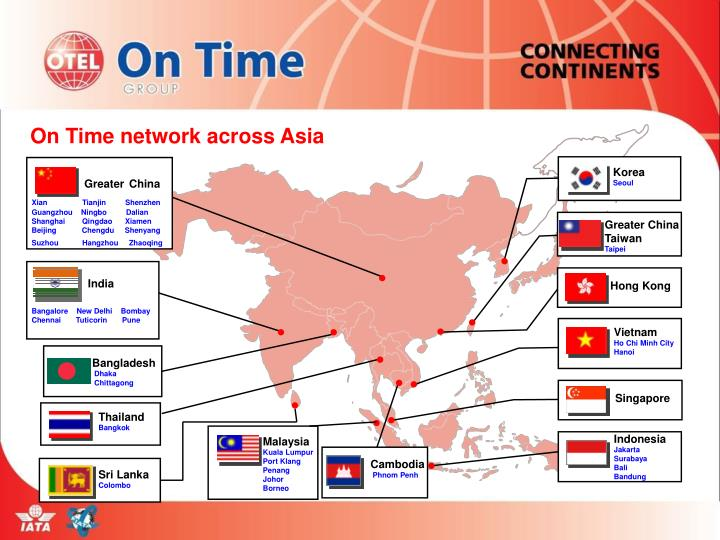On Time network across Asia