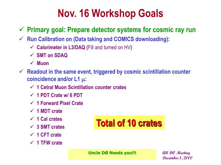 Nov. 16 Workshop Goals