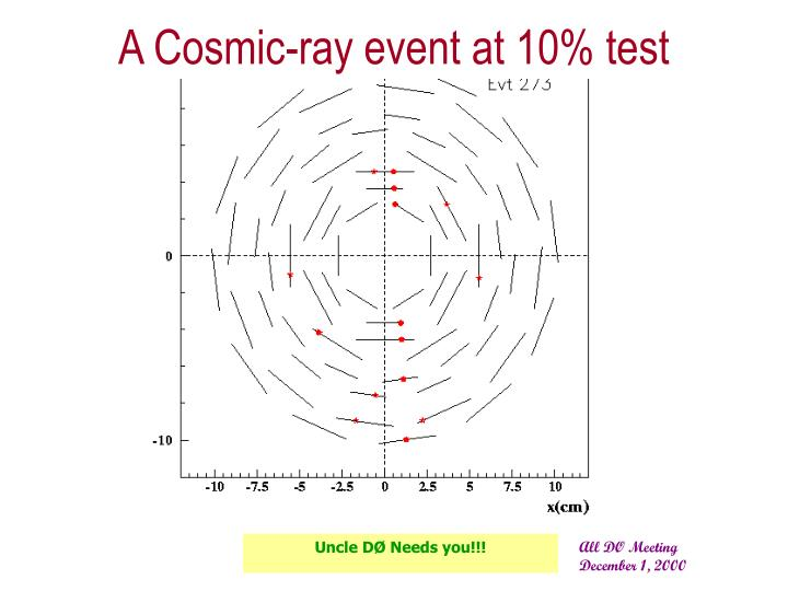 A Cosmic-ray event at 10% test