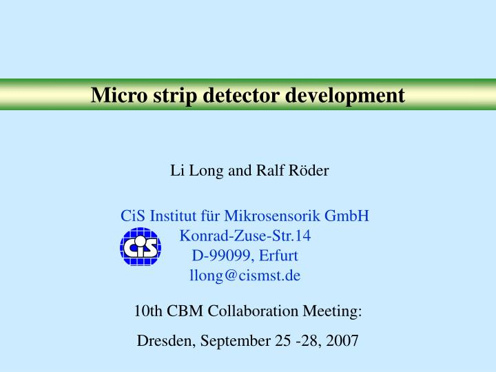 Micro strip detector development