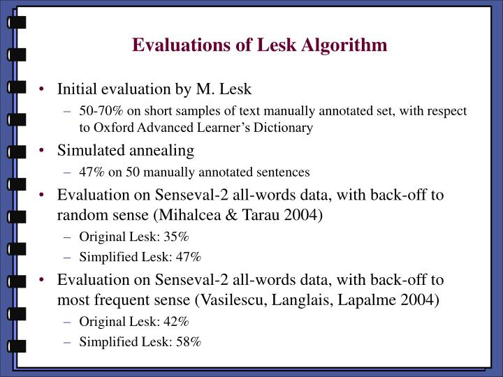 Evaluations of Lesk Algorithm