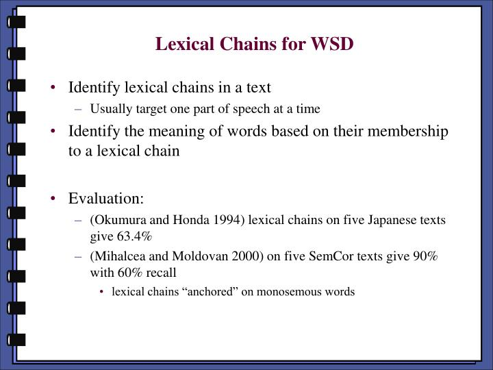 Lexical Chains for WSD