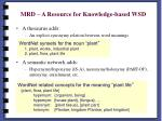 mrd a resource for knowledge based wsd1