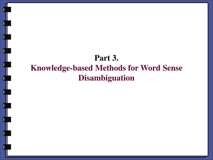 part 3 knowledge based methods for word sense disambiguation