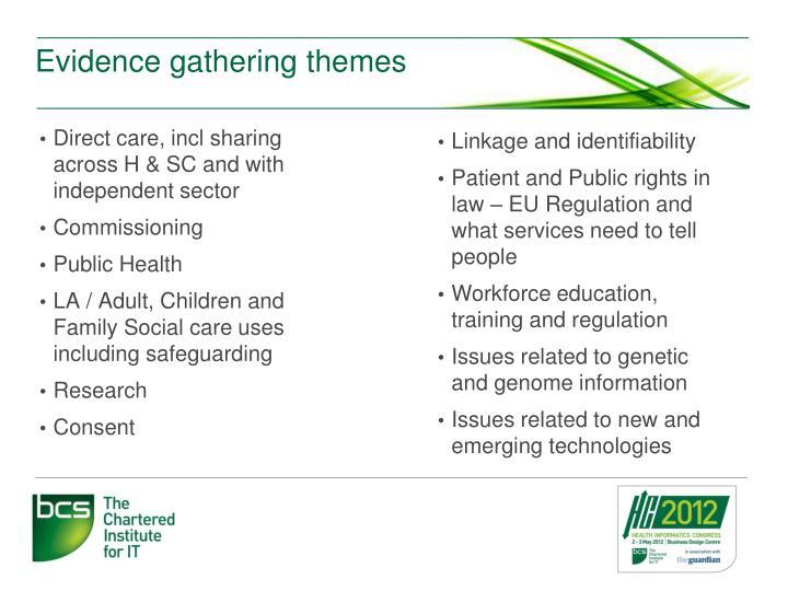 Evidence gathering themes