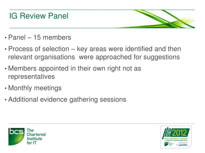 IG Review Panel