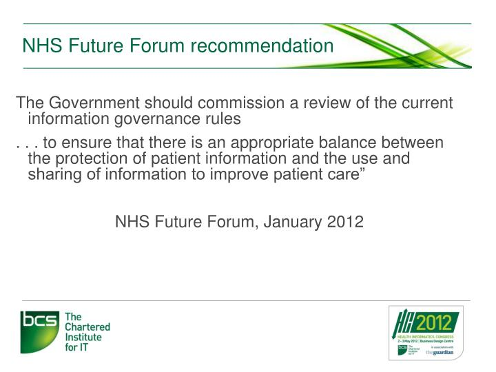 Nhs future forum recommendation